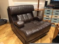 Large Vintage leather arm chair (reclining with foldable arms)