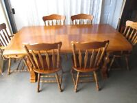 7 PIECE OAK FARMHOUSE EXTENDING DINING TABLE SET TABLE AND FOUR CHAIRS TWO CARVERS FREE DELIVERY