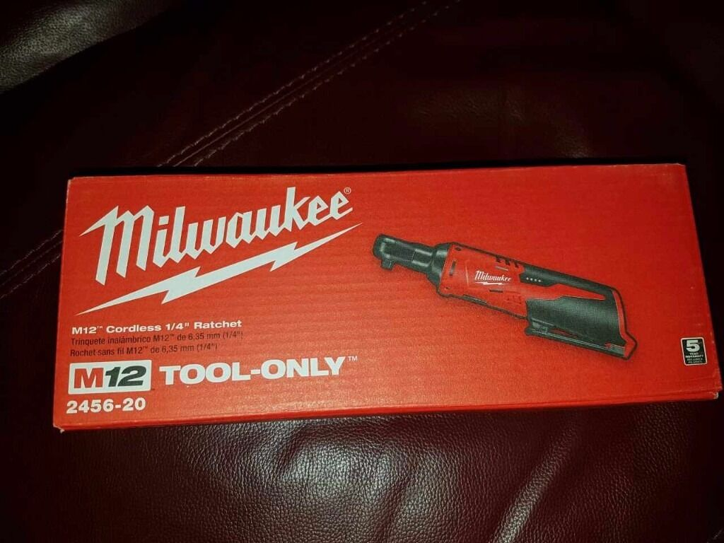 """Milwaukee 2456-20 Cordless Ratchet M12v 1/4""""sq Drive (Tool Only) 2017 New"""