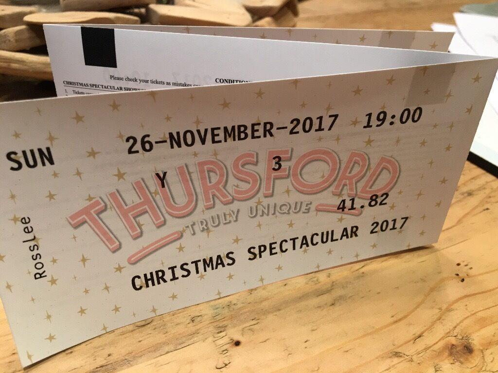 3 Tickets for Thursford Christmas Spectacular Sun 26th Nov 2017 at ...
