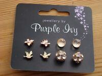 4 Pairs of earrings. Brand new by Purple Ivy.
