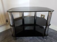 Black and silver TV stand for sale