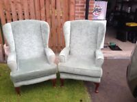 Pair of Green Wingback Chairs