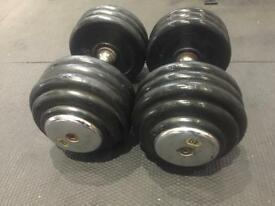 Pair of 40kg rubberised dumbbells