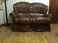 Leather 2 seater sofa and matching chairs / 3 piece suite