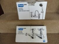 Bathroom Taps, New Bath Shower Mixer, 2 Basin Taps. Chrome