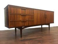 Retro Mid Century Sideboard Credenza Dresser Vintage Zebra Wood