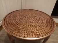 Custom finished antique round coffee table, side table, money, penny resin table