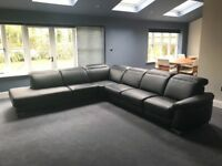 Leather Montana corner group sofa couch settee Black with Chrome feet