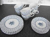 Blue and White 'Rose Bouquet' Royal Victoria Ironstone 18 Piece Tea Set
