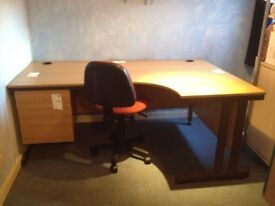 Left Handed Office desk in teak with 2 draws very good condition - easy to assemble
