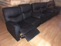 New 2 Seater Recliner Black & Brown Real Leather Sofas (Free Local Delivery)