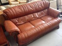3 seater sofa. Light brown leather. Used condition. £35