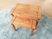 Nest of 2 wooden tables