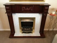 Matching Coffee table, corner unit, set of 3 side tables and electric fire with built in surround