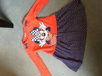 Girls Minnie Mouse dress age 3 - 4 navey polka and red immaculate condition