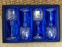 Set of 4 Bohemia Crystal Wine Glasses