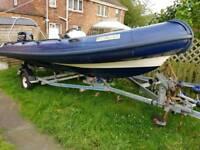5 meter humber rib boat with 40hp mercury 4 stroke hydrolic lift on galvanised trailer