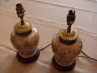 Two ceramic, Brass and Mahogany Table Lamps