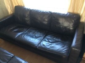SOFA 3 and 2 SEATER BROWN LEATHER £50