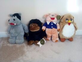 Vintage - 4 Large Co-op Teddies - Hippo, Gorilla, Pig & Owl - Brand New with Tags