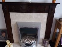 Solid Mahogany&real marble fireplace