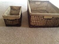 Three strong wicker baskets with handles (lined)