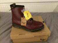 Dr Martens 1460 Cherry Red Boots Size 9.5 Brand New In Box + Spare Yellow Laces £105 (RRP £149)