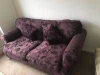 URGENT Purple Double Sofa for sale - SUPER COMFY - smoke & pet free home - EAST LONDON