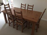 IKEA pine dining table and 6 chairs