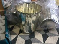 7 rustic silver candle holders / vases