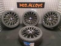 """16"""" FORD FIESTA ZETEC S ALLOY WHEELS AND NEW TYRES REFURBISHED GLOSS BLACK 4x108 ST STYLE TITANIUM"""