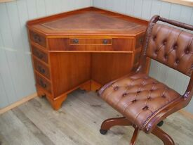 Stunning Corner Leather Inlay Desk and Chesterfield Captains Chair