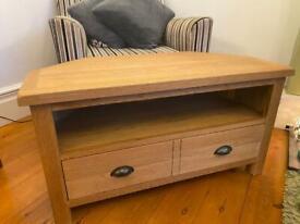 🌳📺 Lovely solid oak corner tv cabinet unit drawers
