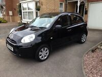 Nissan Micra Black (2011, 61 reg) 1.2litres 5 doors with a mileage of 53'000 for sale