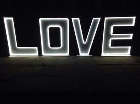 Giant Love letters for wedding party yorkshire leeds york bradford doncaster photo booth
