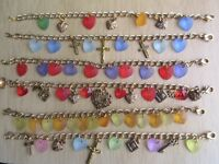 6 x GOLD PLATED CHARM BRACELETS - HAND MADE NEW