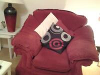 Three piece suite sofa and two chairs in very good clean condition red fabric washable covers
