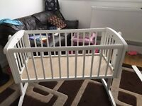 Mothercare Crib Cot Bed+ FREE Mattress Included - Like NEW - Can ROCK or stay STATIONARY