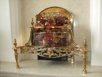 Vintage Solid Brass Electric Fireplace with glass coals