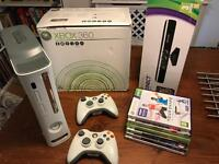Xbox 360, Kinect, 7 games, 2 controllers