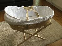 Moses basket and stand (Clair de lune white)