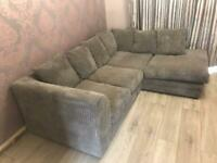 GREY JUMBO CORD RIGHT HAND CORNER L SHAPE SOFA SETTEE COUCH