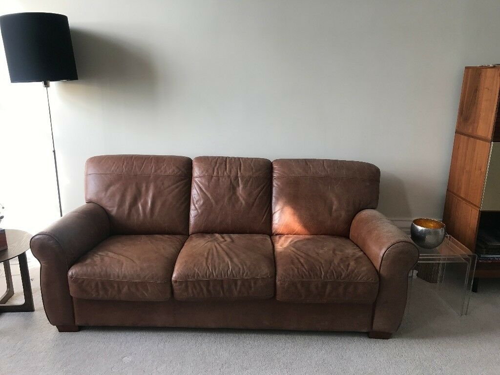 Vintage Look Tan Leather 3 Seater Sofa Bed