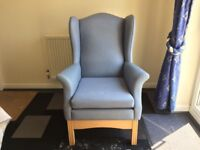 Wing back high seat chair