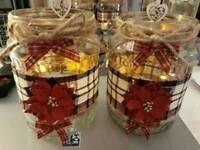 Vintage Christmas candle jars