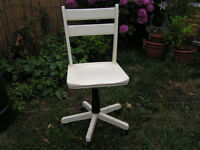 Attractive White Wood Swivel Chair Shabby Chic Office