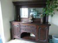 Large Antique Mahogany Sideboard/Dresser with mirrored top - £210