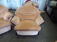 3 seater sofa & 1 Arm Chair pink & wood cheap for quick sale