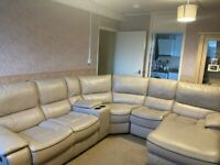 LUXURY CREAM RECLINER LEATHER CORNER SOFA WITH CHAISE - MUST GO TODAY TODAY - CHEAP DELIVERY - £995
